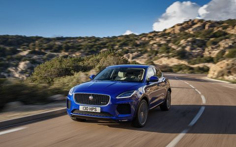 "That's ""sports car-inspired design"" you're looking at on the Jaguar E-Pace, the new compact crossover utility vehicle that has the potential to be Jaguar's biggest-selling car. It's powered by a 2.0-liter four-cylinder turbo making your choice of 247 or 296 hp spinning all four wheels, as necessary. Prices start at $39,595"