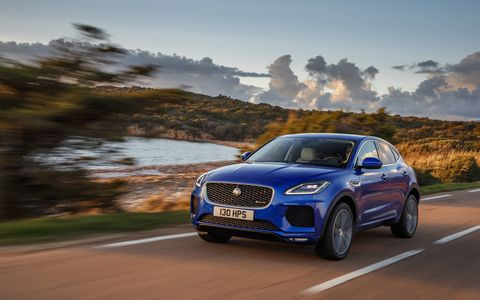 "That's ""sports car-inspired design"" you're looking at on the Jaguar E-Pace, the new compact crossover utility vehicle that has the potential to be Jaguar's biggest-selling car. It's powered by a 2.0-liter four-cylinder turbo making your choice of 247 or 296 hp spinning all four wheels. Prices start at $39,595"