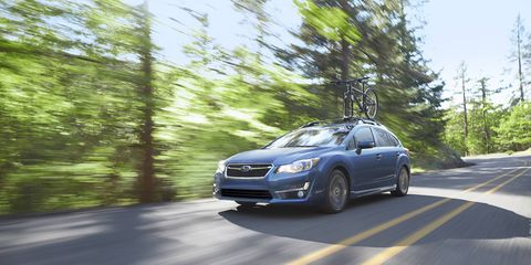 The Impreza's 2.0-liter 4-cyl. BOXER engine produces 148 hp at 6,200 rpm and 145 lb.-ft. of peak torque at 4,200 rpm.