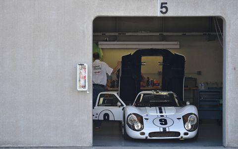 Jeff Kline's 1967 Ford GT40 is readied.