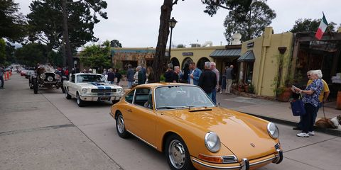 """The Carmel Concours kicks off Monterey Car Week 2018, which culminates in the Pebble Beach Concours Sunday. It's a diverse show: Here a 911 leads a Mustang that leads Gary Wales' La Bestioni """"Rusty Two."""" There's something for everyone here."""