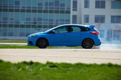 The 2017 Ford Focus RS is available with the drift stick, an extension of the parking brake that locks the rear wheels for a short time.