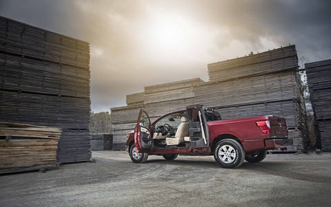 The Nissan Titan King Cab is smaller than the crew cab Nissan Titan but slightly larger than the standard cab.