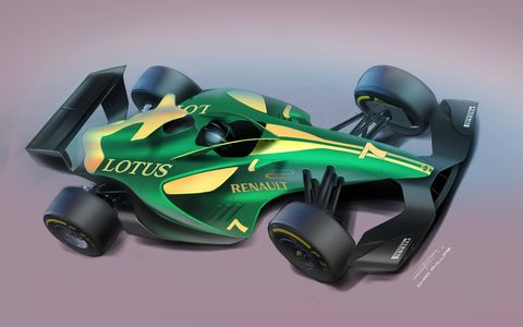 Student artist renderings of futuristic cars featuring innovations in driver head safety for Formula One and IndyCar.