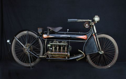 The Mecum Motorcycle Auction in Las Vegas last weekend cleared $13.7 million. This gorgeous 1912 Henderson Four hammered at $490,000, one of six four-cylinder bikes in the top 10. Other notables included a 1928 Excelsior Big Bertha Hillclimber and an ex-Steve McQueen 1923 Indian Chief.