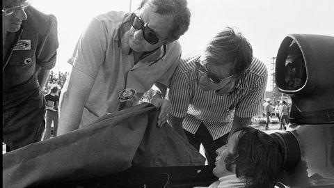 Team Tyrrell designer Derek Gardner, bossman Uncle Ken and shoe Stewart plotting their 1973 run to Jackie's third world title