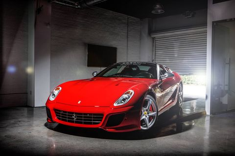 We met with Putnam Leasing CEO Steve Posner to duscuss leasing. You could lease this Ferrari 599 Aperta, for instance. I got to drive it around the block, slowly.