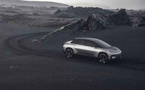 """Faraday Future finally finished its first car, the FF91. It has a huge 130-kWh battery, an output of 1,050 hp and an EPA """"adjusted"""" range of 378 miles. 0-60 comes up in 2.39 seconds or quicker. Faraday says to look for vehicles in showrooms in 2018. No price yet."""