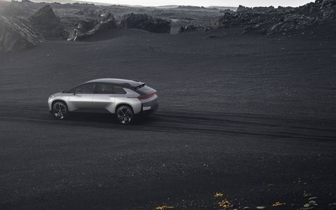 """Faraday Future finally finished its first car, the FF 91. It has a huge 130-kWh battery, an output of 1050 hp and an EPA """"adjusted"""" range of 378 miles. 0-60 comes up in 2.39 seconds or quicker. Faraday says to look for vehicles in showrooms in 2018. No price yet."""