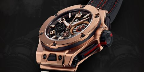 The Hublot Big Bang Ferrari Chronograph Unico, here shown in 18-karat King Gold, is more directly inspired by Ferrari cars than some previous collaborations, which makes sense -- the design process was shepherded by Ferrari's Flavio Manzoni.