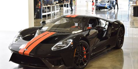 The 2017 Ford GT is powered by a 3.5-liter twin-turbocharged EcoBoost V6 making more than 600 hp.