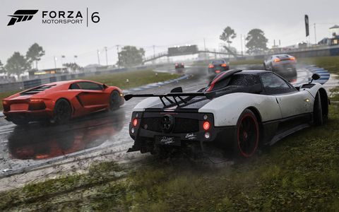 """The new """"Forza Motorsport 6,"""" due out Sept. 15, has 26 tracks and 148 different coefficients of friction. Here's some rain."""