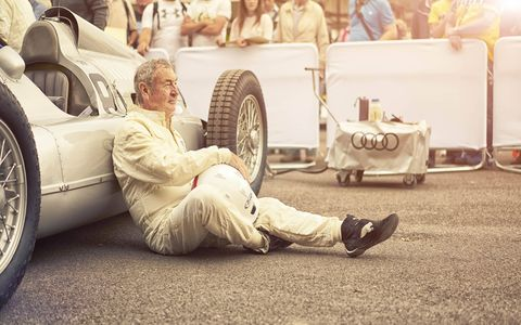 Nick Mason rsts against the Auto Union Type D before taking it for a sprint.