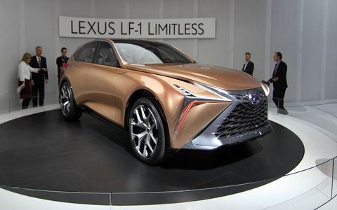 The Lexus LF-1 Limitless concept debuted at the 2018 Detroit auto show. We don't know what will power this flagship four-seat crossover, or if it is in fact headed to production, but we wouldn't be surprised to see elements of its design on future Lexus vehicles.
