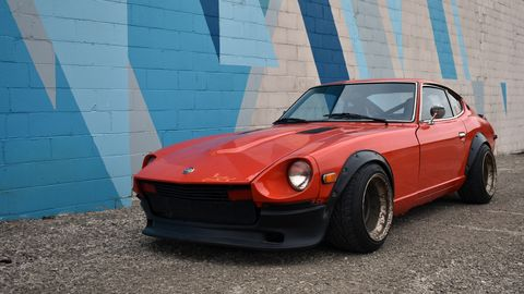 This Datsun 280Z is getting a Mercedes V12 swap, in a 1.5-car garage in Michigan.
