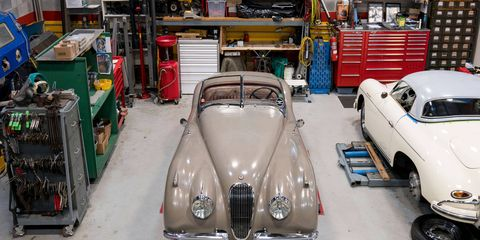 Kim and Mitch McCulloughs' 1954 Jaguar XK 120 is a lovingly cared-for and highly original car, but it needed a bit of extra prep work -- from the replacement modern-style wiring and hose clamps with vintage-style counterparts to the re-installation of the car's original radiator -- before its appearance at the 2017 Pebble Beach Concours d'Elegance. The work shown here was performed at Graham Engineering & Motorsport in Clifton, New Jersey.