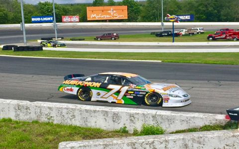 Shots from the throwback paint schemes in the Busch North Throwback 100 at Thompson Speedway Motorsports Park in Connecticut, July 9, 2017.