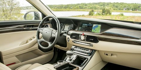 The G90 offers a spacious and luxurious interior with plenty of room in the back.