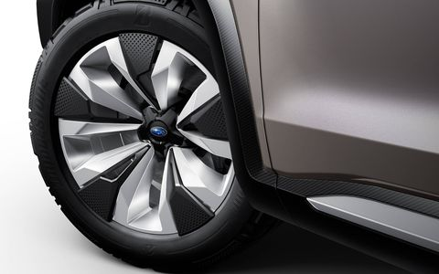 The full-size Subaru Viziv-7 premiered at the Los Angeles Auto Show