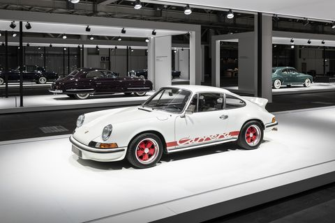 Grand Basel is an automotive take on the established Art Basel shows held around the world. Last week's Grand Basel was all about automobiles, 113 of them. Some were for sale, most were for display. Here are some of our favorites. This is a 1973 Porsche Carrera 911 2.7 RS.