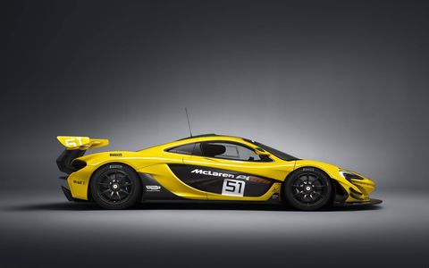 The front track is 80mm wider than the road-going McLaren P1™ and with its aggressively profiled front splitter, the also car sits 50mm lower to the ground on centre-locking 19-inch motorsport alloy wheels shod with Pirelli slick tyres.