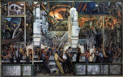 "Diego Rivera's ""Detroit Industry"" murals at the Detroit Institute of Arts."