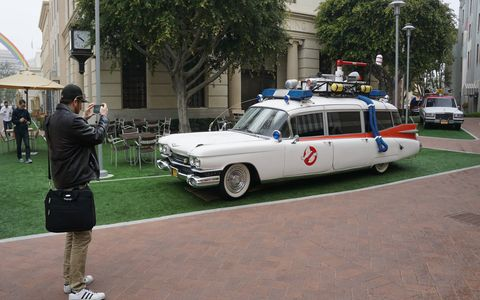 The original Ecto-1 parked nearby.