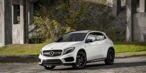 The 2015 Mercedes-Benz GLA45 AMG is on sale now alongside the milder GLA250.