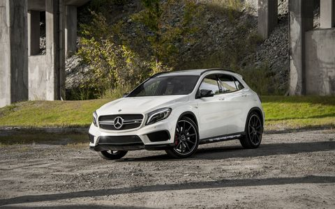 The 2015 Mercedes-Benz GLA45 AMG is on sale now alongside the milder GLA250.