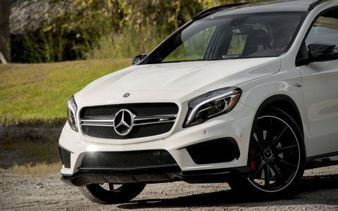 The 2015 Mercedes-Benz GLA45 AMG combines the packaging of a mini-SUV with a positively rabid engine.