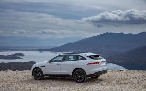 The 2017 Jaguar F-Pace is the brand's first SUV, with the expected volume model, shown here, to be powered by a 340-hp supercharged V6.