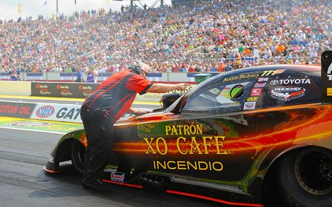Alexis DeJoria will be defending her Funny Car win at the NHRA Chevrolet Performance U.S. Nationals this weekend in Indianapolis.