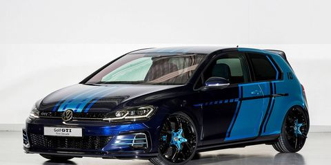 With over 400 hp on tap, this VW GTI show car is one hot hybrid hatch.