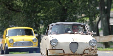 This 1959 Goggomobil TS-400 miraculously repaired its own electrical maladies on the way north to Boston from Pennsylvania on a trailer.