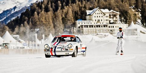 Skijoring usually means being towed on skis behind a horse. But in the Austrian ski town of Zell am See they tow you with a Porsche!