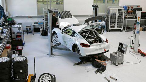 The Porsche Cayman GT4 Clubsport is powered by a 385-hp 3.8-liter flat-six engine.