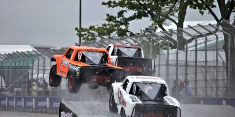 Poor visibility and a wet track made for some wild racing on Belle Isle Sunday.