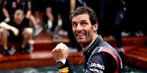 Mark Webber while driving and winning for Red Bull Racing in Formula 1