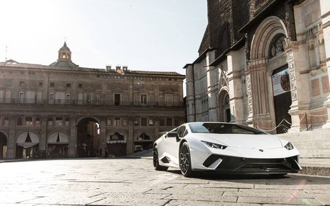 New Lamborghini Huracan Performante supercar in white