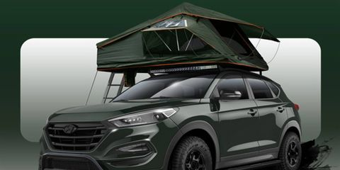 """This Hyundai Tucson """"Adventuremobile"""" is a campers dream. The Treeline Tamarack roof-top tent combined with solar panels will make this the Ritz-Carlton of the forest."""