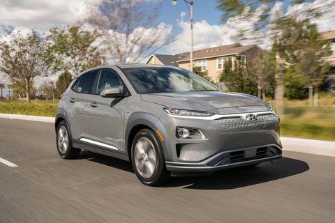 The 2019 Hyundai Kona Electric on the move