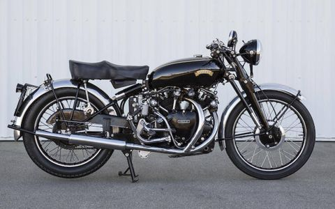 """1951 Vincent 998cc Series C Black Shadow was estimated to go for between $100,000 and $120,000. Sale listed as """"amended."""""""
