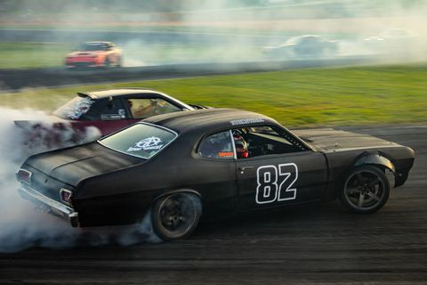 Senoia, GA based Taylor Hull stands out, drifting a Plymouth Duster at Gridlife South at Road Atlanta. Hull is also the first Formula Drift driver to campaign a Cadillac, his 2015 CTS-V. (Brooks Metzler 2018)