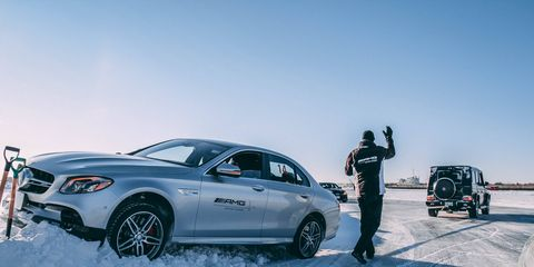 Scenes from the AMG Winter Driving Academy on the deep-frozen Lake Winnipeg in Gimli, Manitoba.