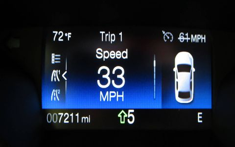 The upshift indicator wants you to be spinning about 1400 rpm at most. 5th gear at 33 mph?