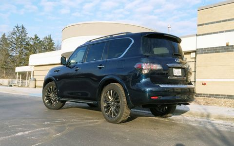 The 2016 Infiniti QX80 replaced the QX56 but still uses the company's 5.6-liter V8 making 400 hp and 413 lb-ft of torque.