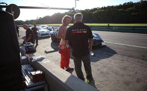 Freddie Hunt, son of the late Formula One champion James Hunt, is driving the Autoweek-liveried Maserati GranTurismo MC Trofeo at Virginia International Raceway.