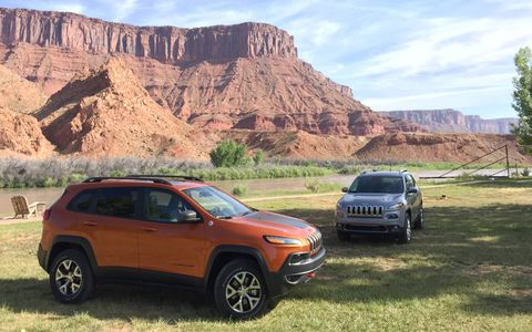 The Jeep Cherokee Trailhawk relaxes before taking on the rocks and roads of Eastern Utah around Moab.