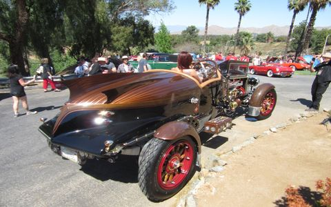 "Carbuilder/artist Gary Wales chose the Benedict Castle Concours to unveil his latest ""La Beastioni,"" a massive wood-and-steel roadster we'll write more about later."