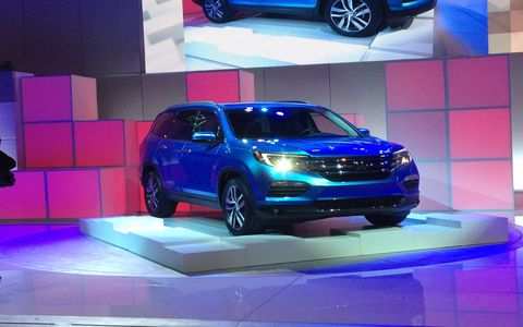 "The next Pilot is three inches longer than the current one, but Honda says curb weight drops ""nearly 300 pounds."""